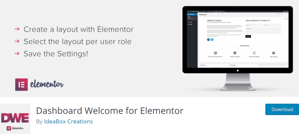 Dashboard Welcome to Elementor