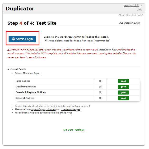 duplicator final step test site