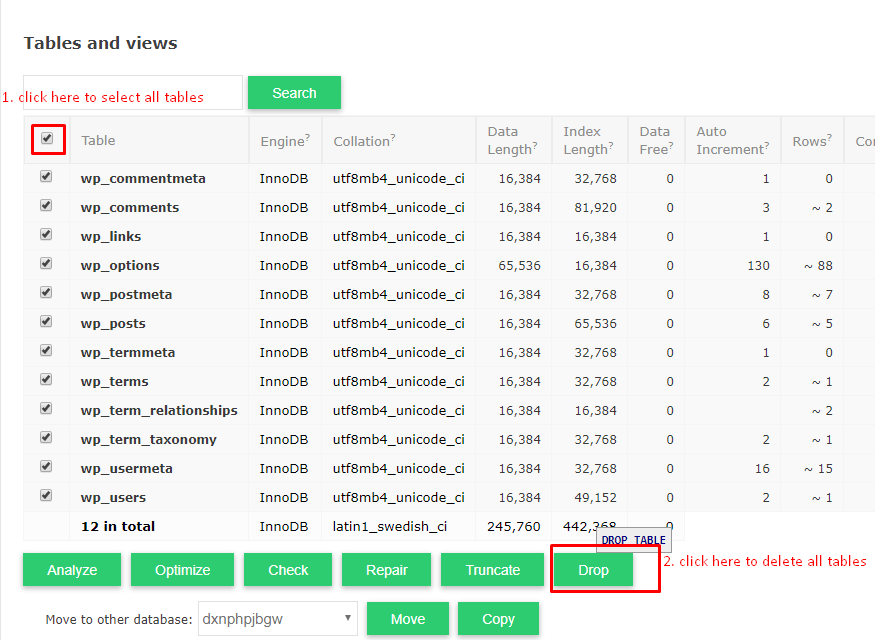 deleting tables from cloudways