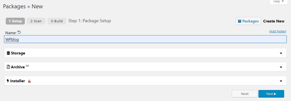 duplicator package creation