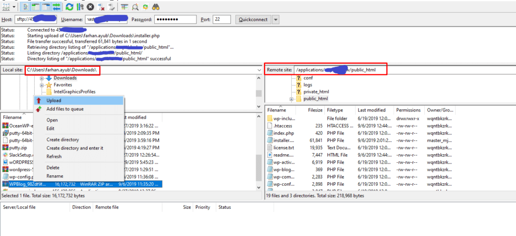 uploading files to filezilla