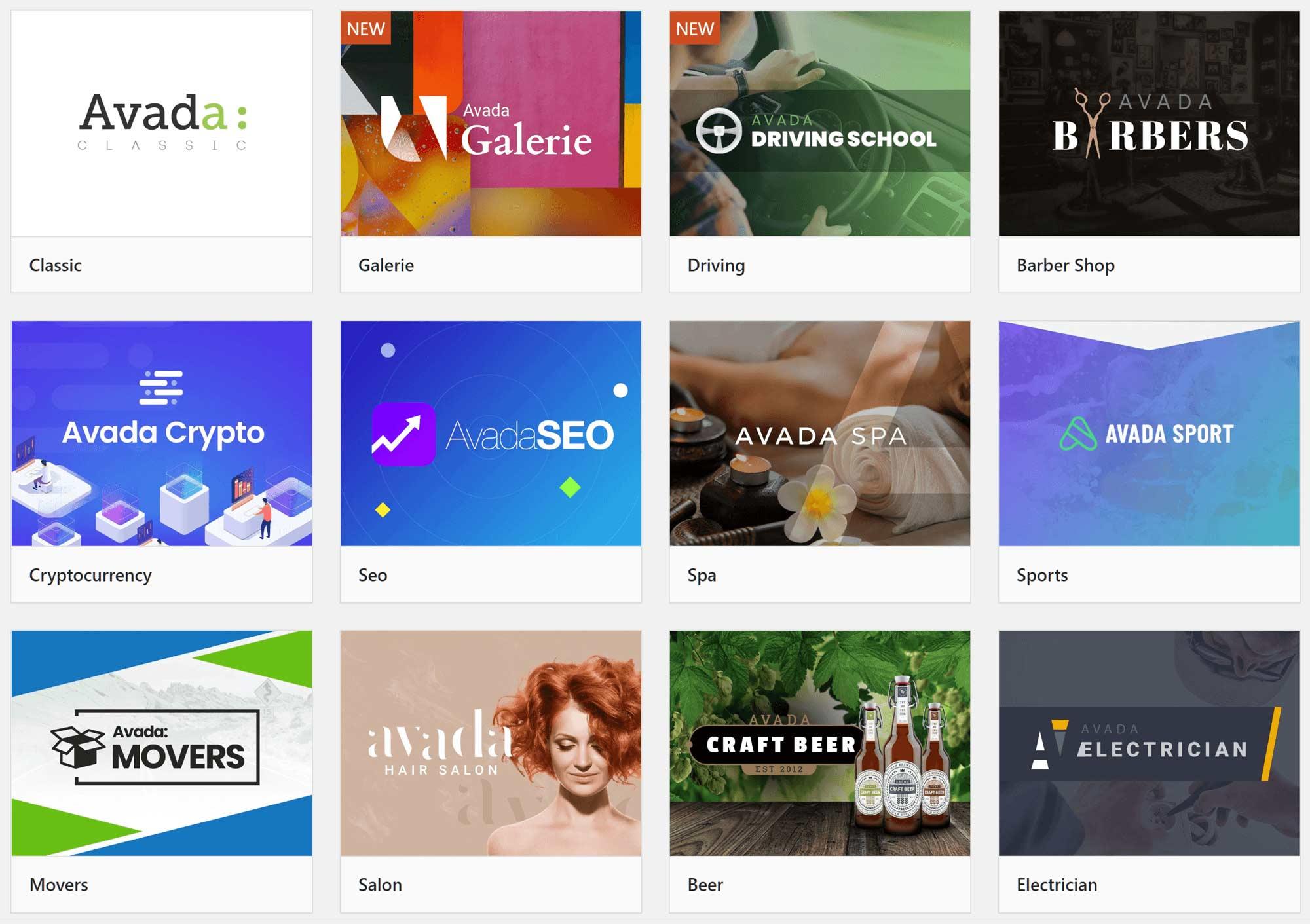 Some of the Avada website demos