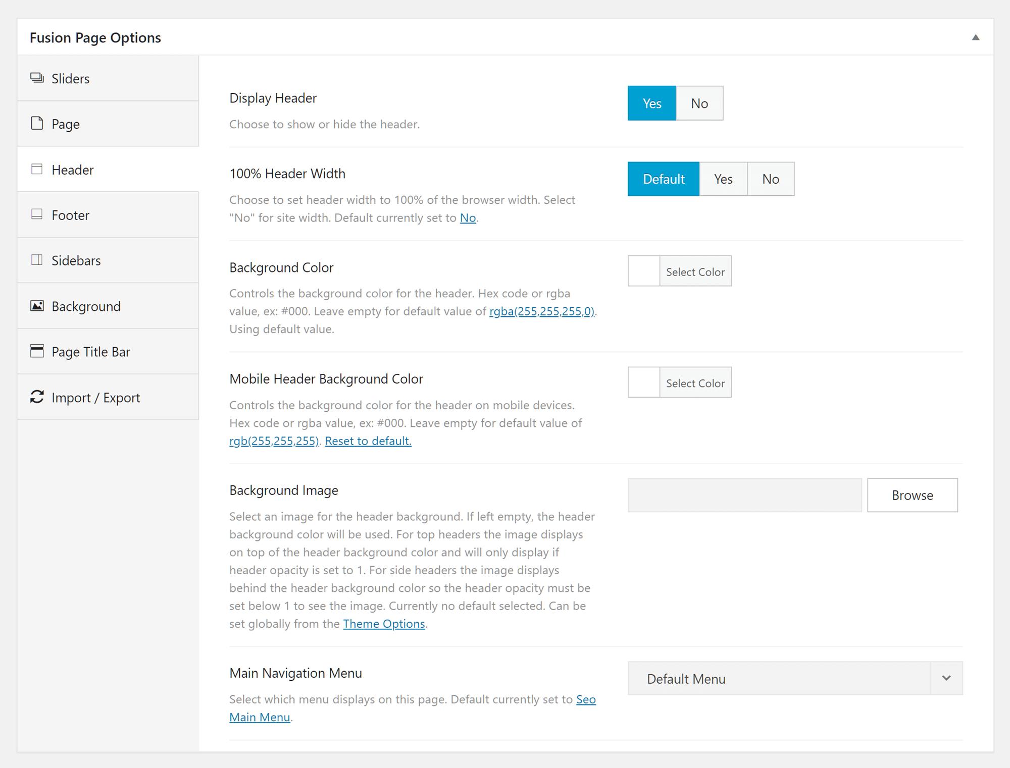 Page Options Panel