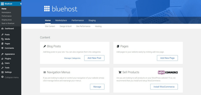 Bluehost vs Hostinger - Bluehost Menu