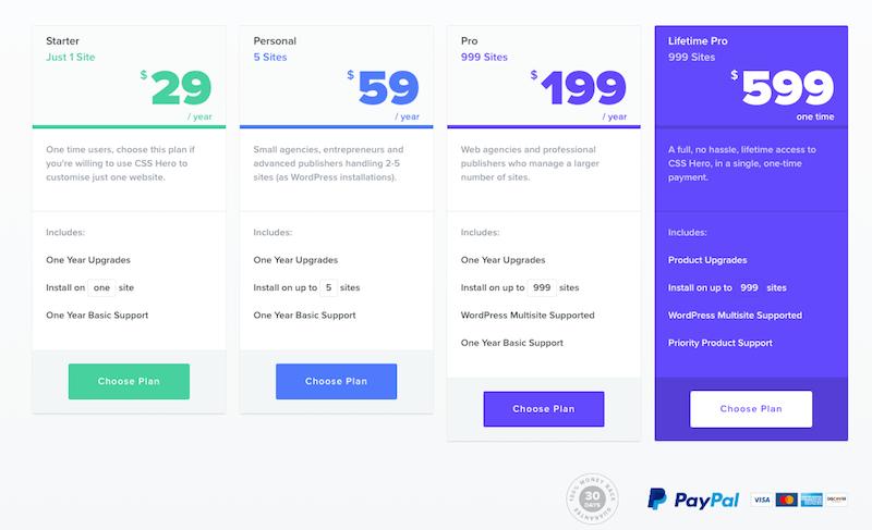 CSS Hero Pricing
