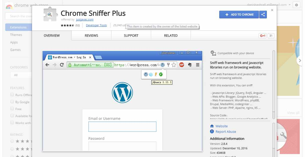 Chrome Sniffer Plus