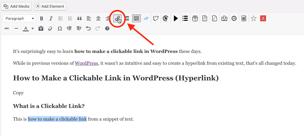 Click Hyperlink Icon in WordPress