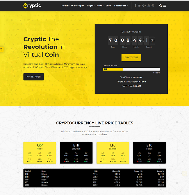 Cryptic, Cryptocurrency wp theme, Bitcoin WP Theme