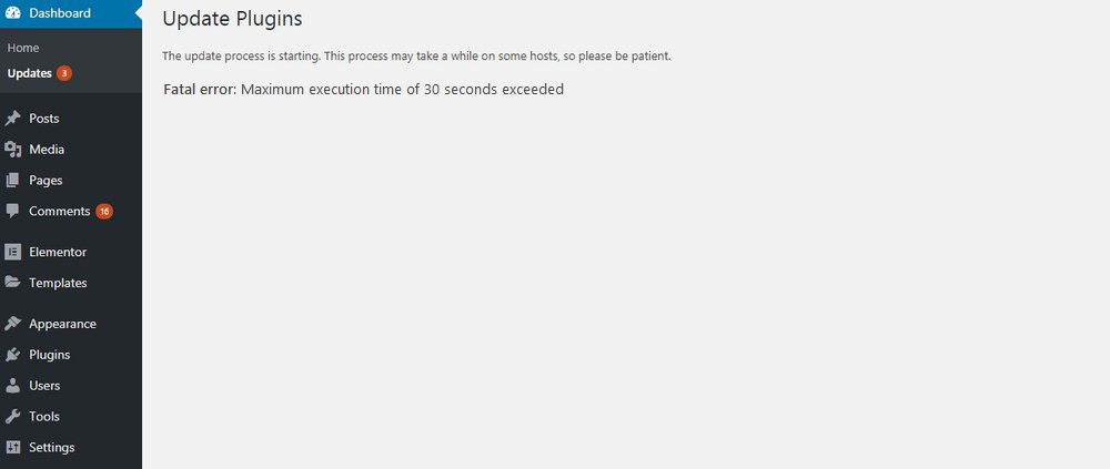 Fatal Error Maximum Execution Time Exceeded error wordpress