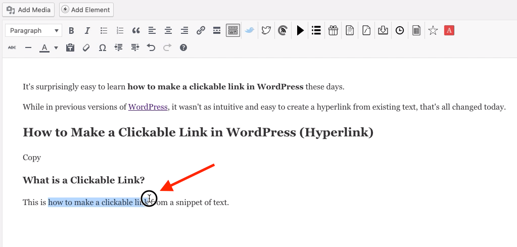 Highlight Clickable Link Text in WordPress