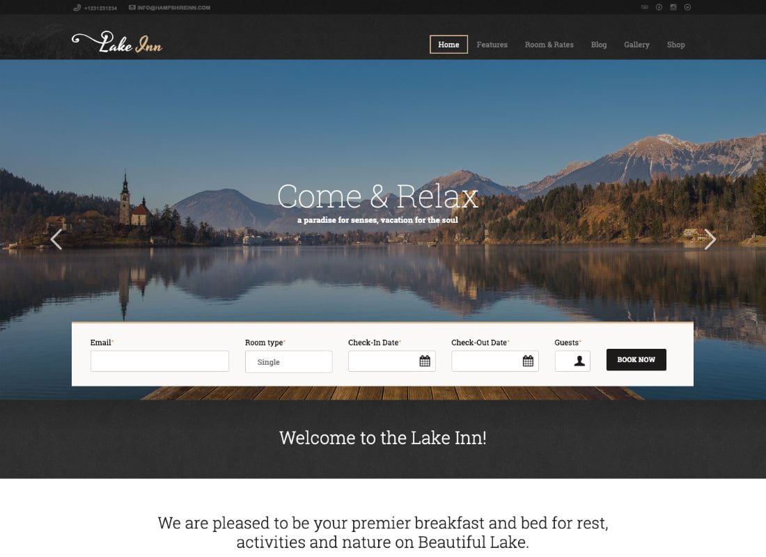 LakeInn | Inn, Resort & Hotel WordPress Theme