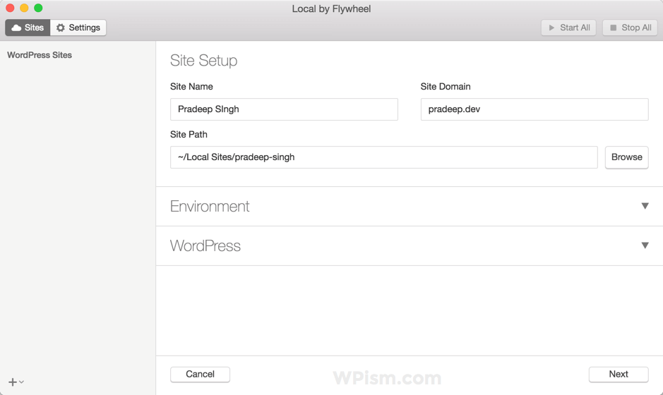 Local by Flywheel WordPress Tool Site Setup Otion