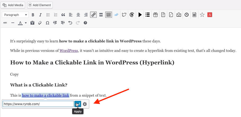 Pasting in Target URL to Make Clickable Link