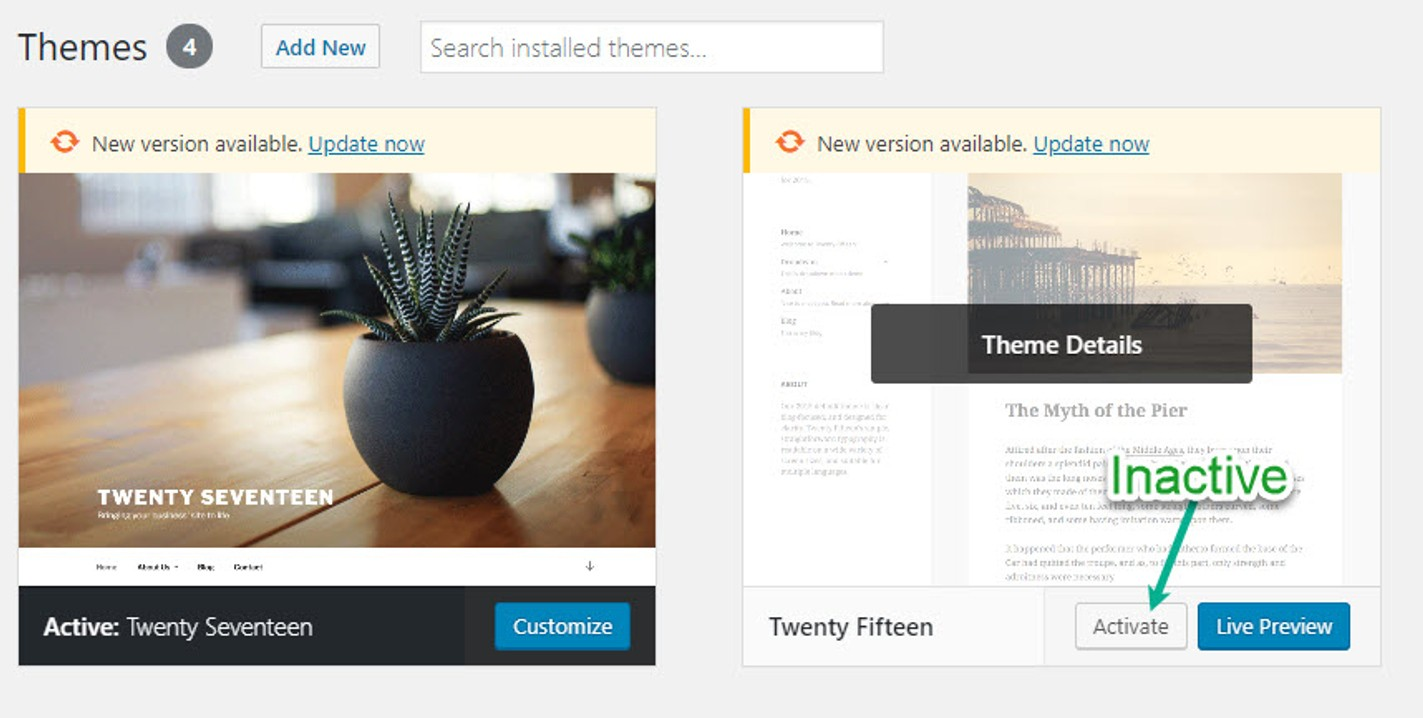 How to Delete a WordPress Theme - an inactive theme