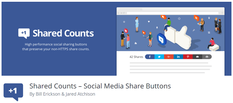 Shared Counts, social share buttons plugin