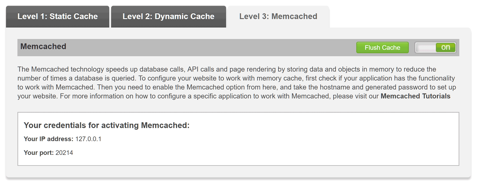 SiteGround cPanel Cache Settings