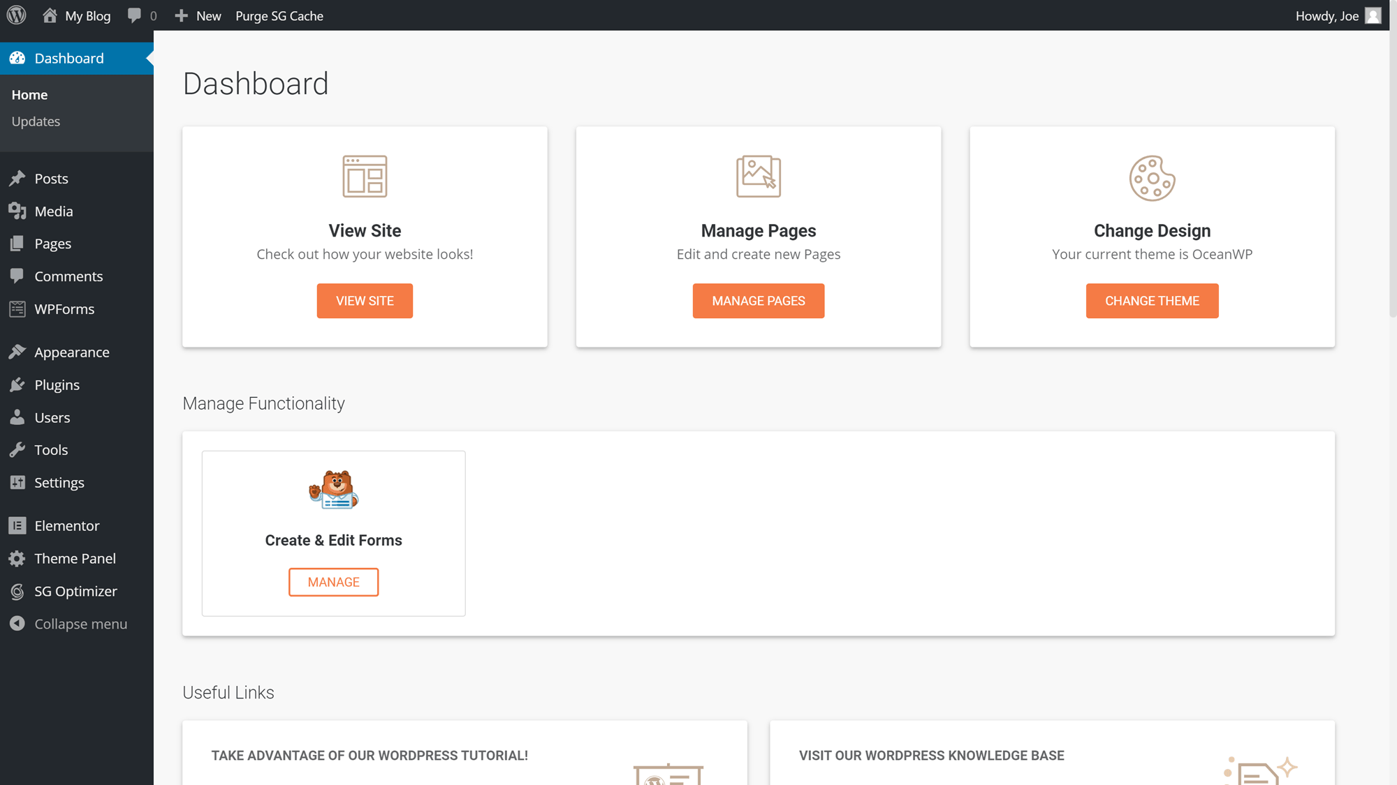 SiteGround Custom WordPress Dashboard