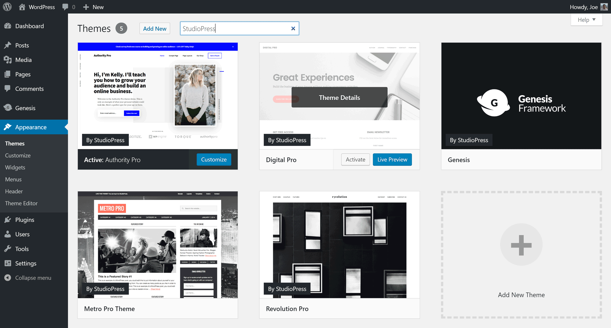 StudioPress Themes in WordPress Dashboard