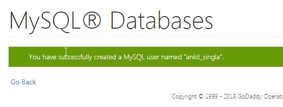 Successfully created MYSQL user