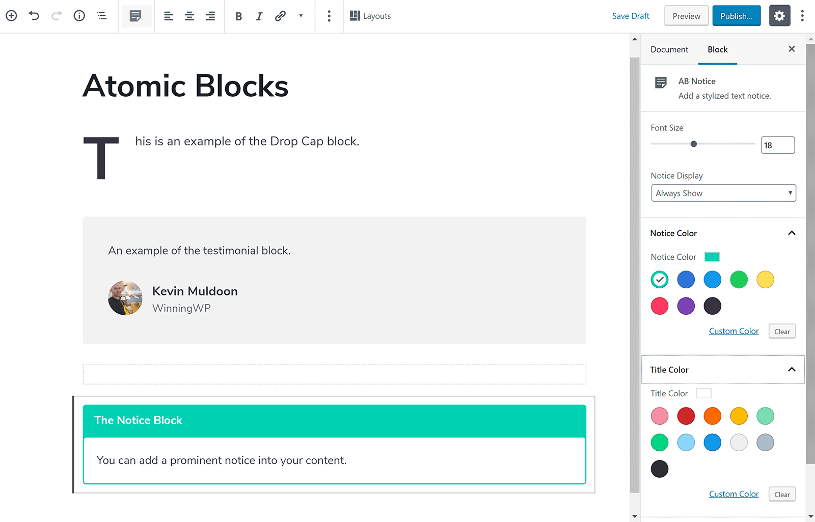 Styling Your Content with Atomic Blocks