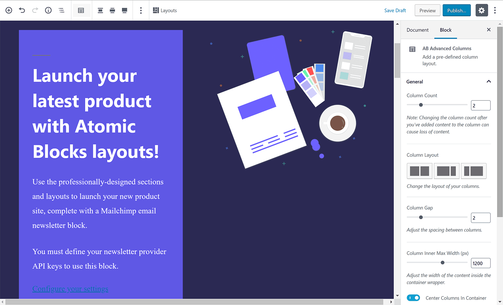 Product Launch Layout
