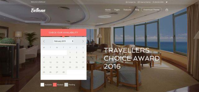 Bellevue est un thème WordPress pour hôtel