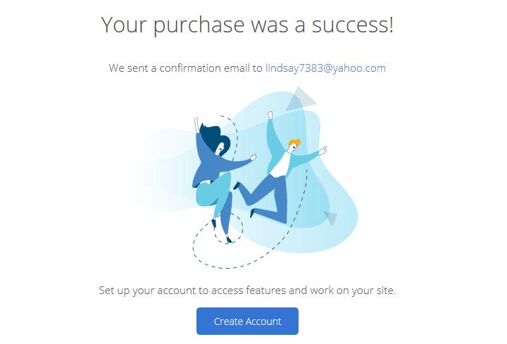 bluehost success message