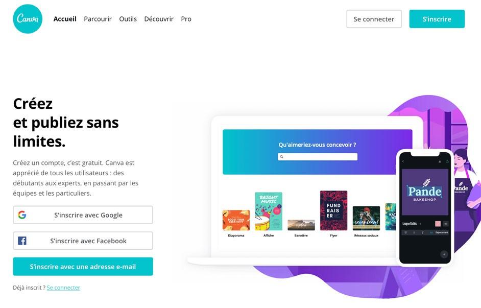 Page d'accueil de Canva