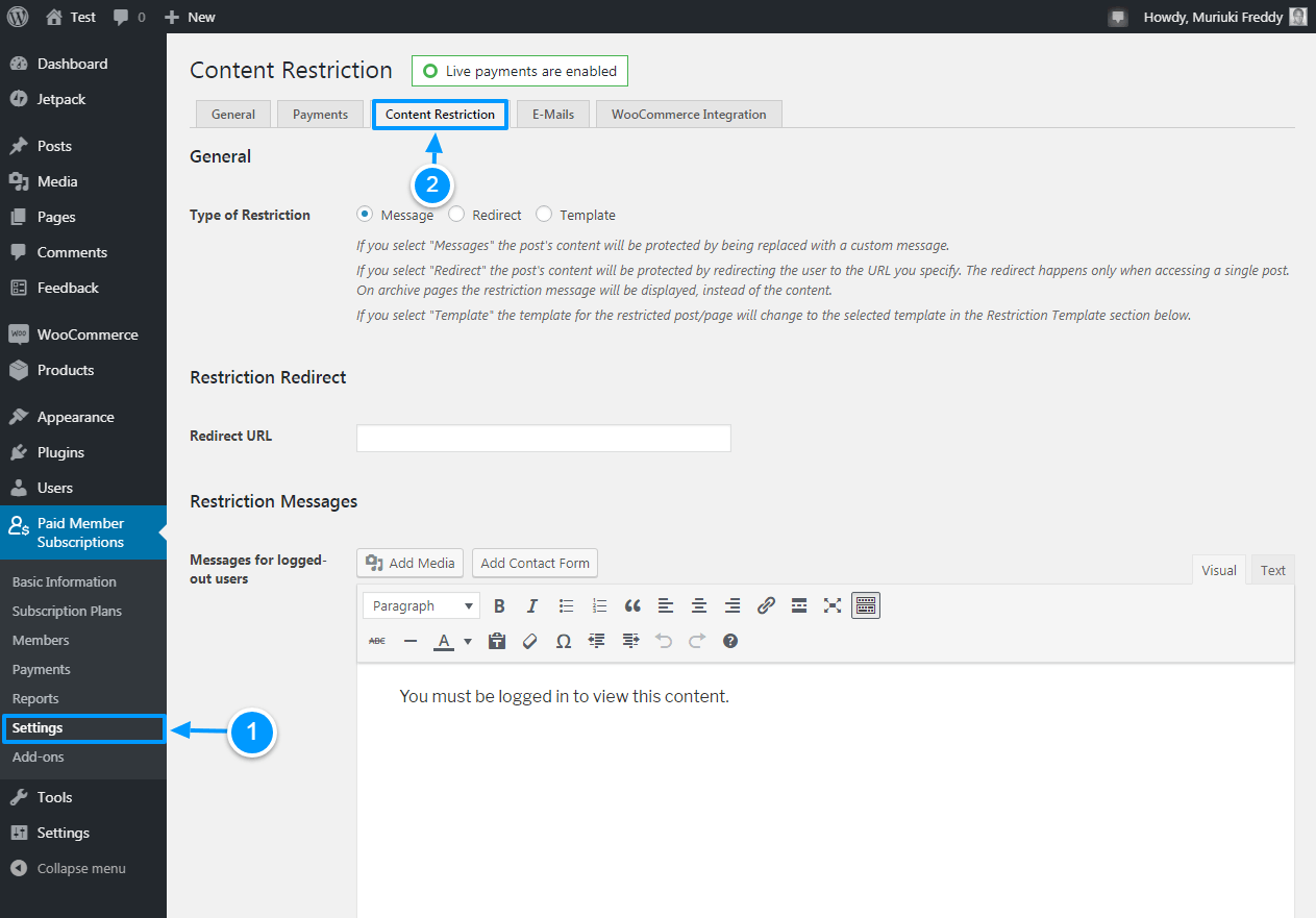 content restriction settings for paid member subscriptions