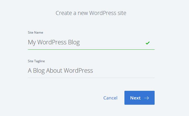 create a new wordpress site