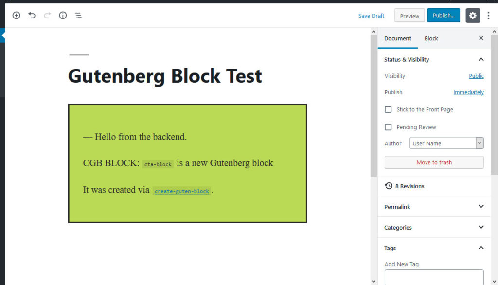 create guten block sample block