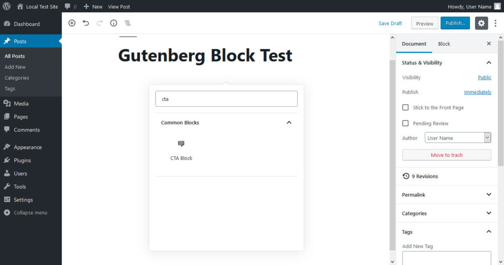 create gutenberg block and choose in editor