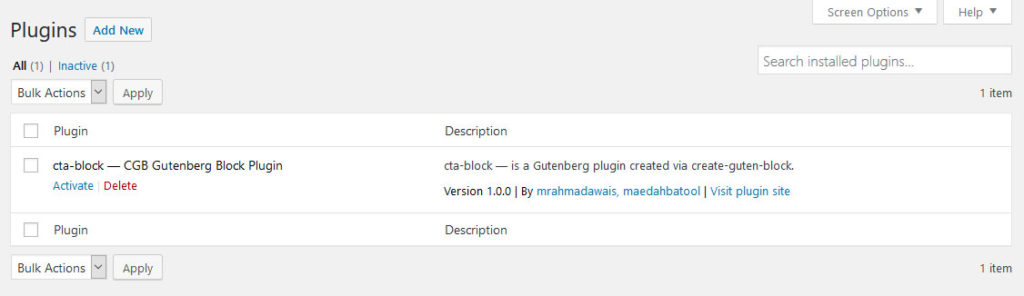 create guten block in plugin menu