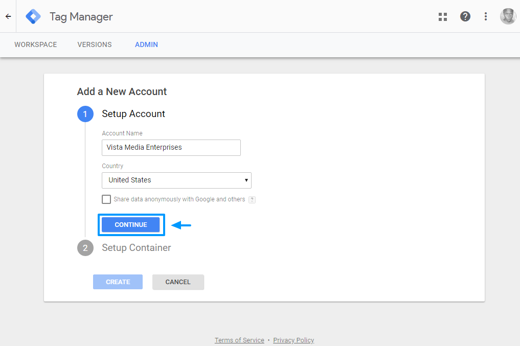 creating new google tag manager account
