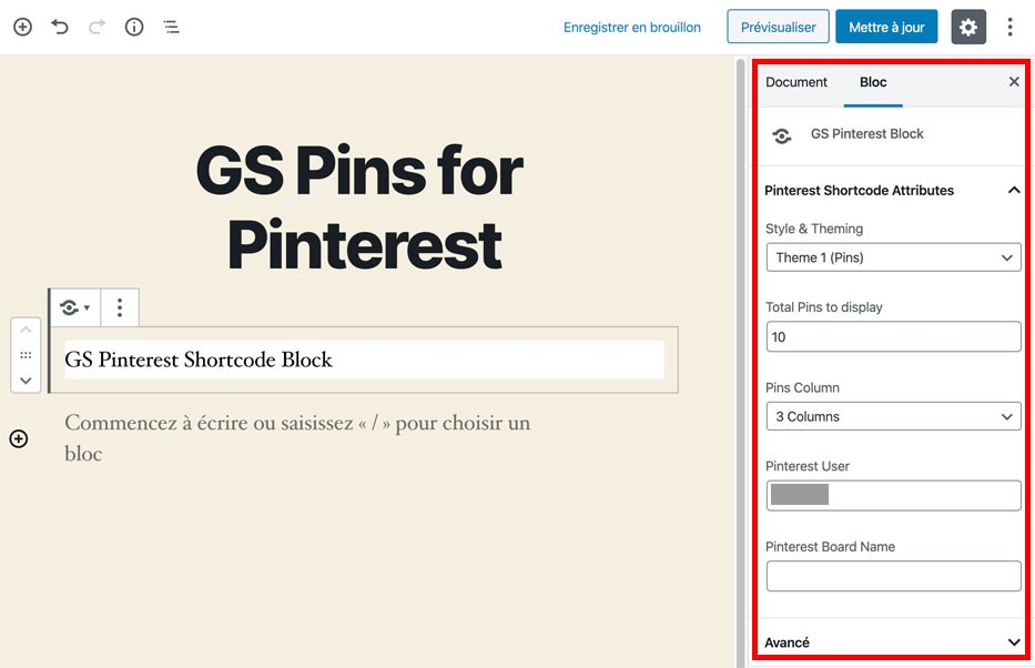 Le bloc Gutenberg de GS Pins for Pinterest