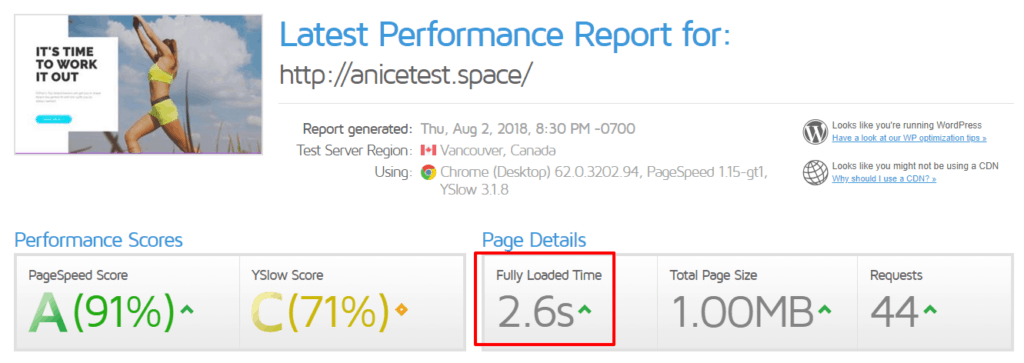 hostinger gtmetrix test