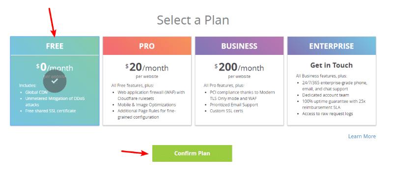 seleccionar plan gratis de cloudflare