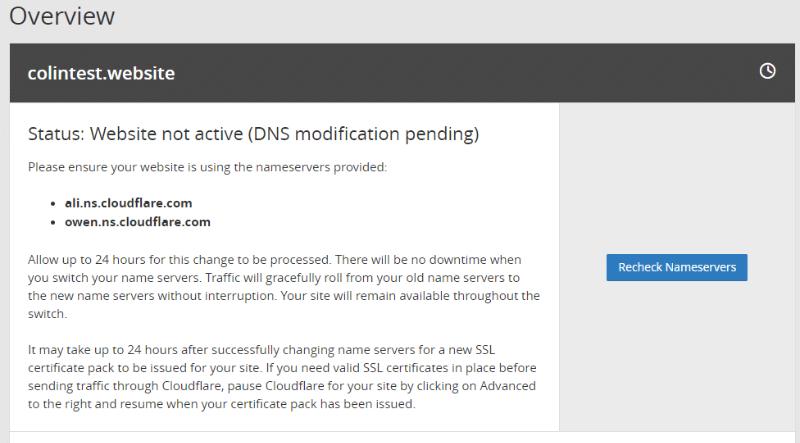 esperar a la propagación de las DNS de cloudflare