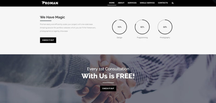 Homepage of portfolio business WordPress theme
