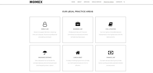 A legal page theme of a website