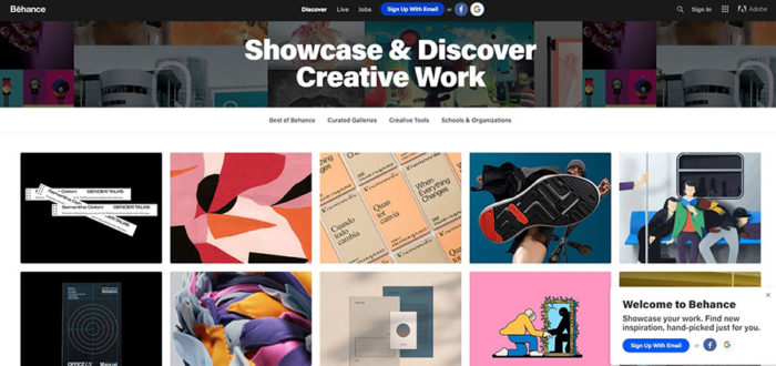 A screenshot of behance page