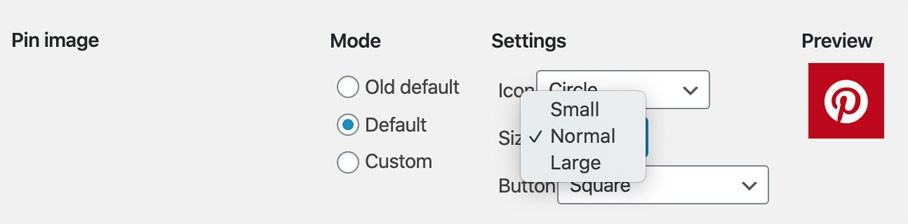 Options de l'extension JQuery Pin It button