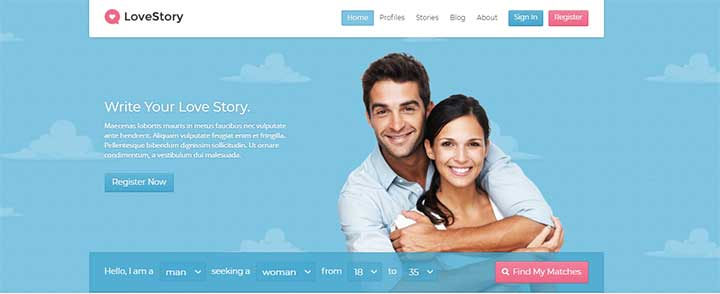LoveStory WordPress Dating Themes