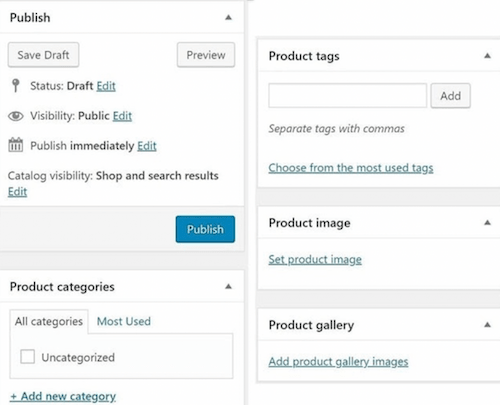 Product Tags Categories Images Publish WooCommerce