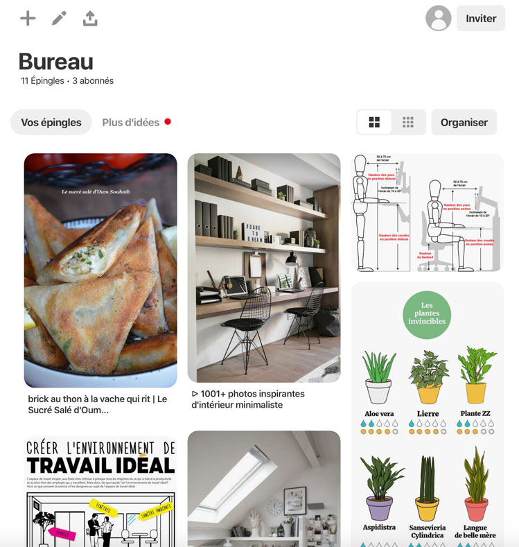 Un exemple de tableau Pinterest