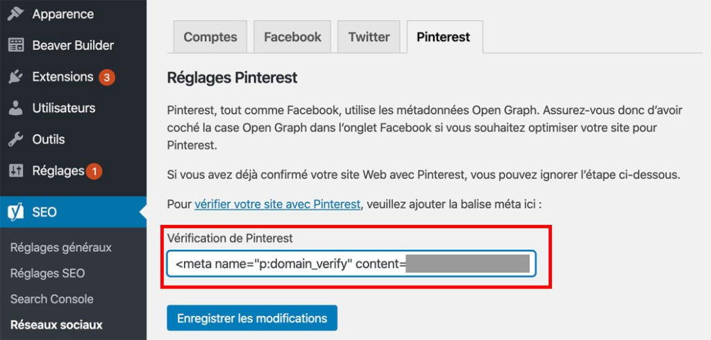 Vérification de Pinterest sur WordPress avec le plugin Yoast SEO