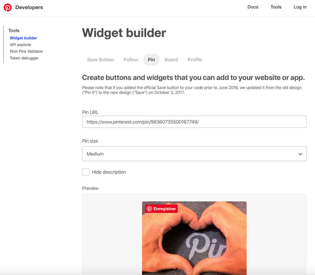 Le widget builder de Pinterest pour WordPress