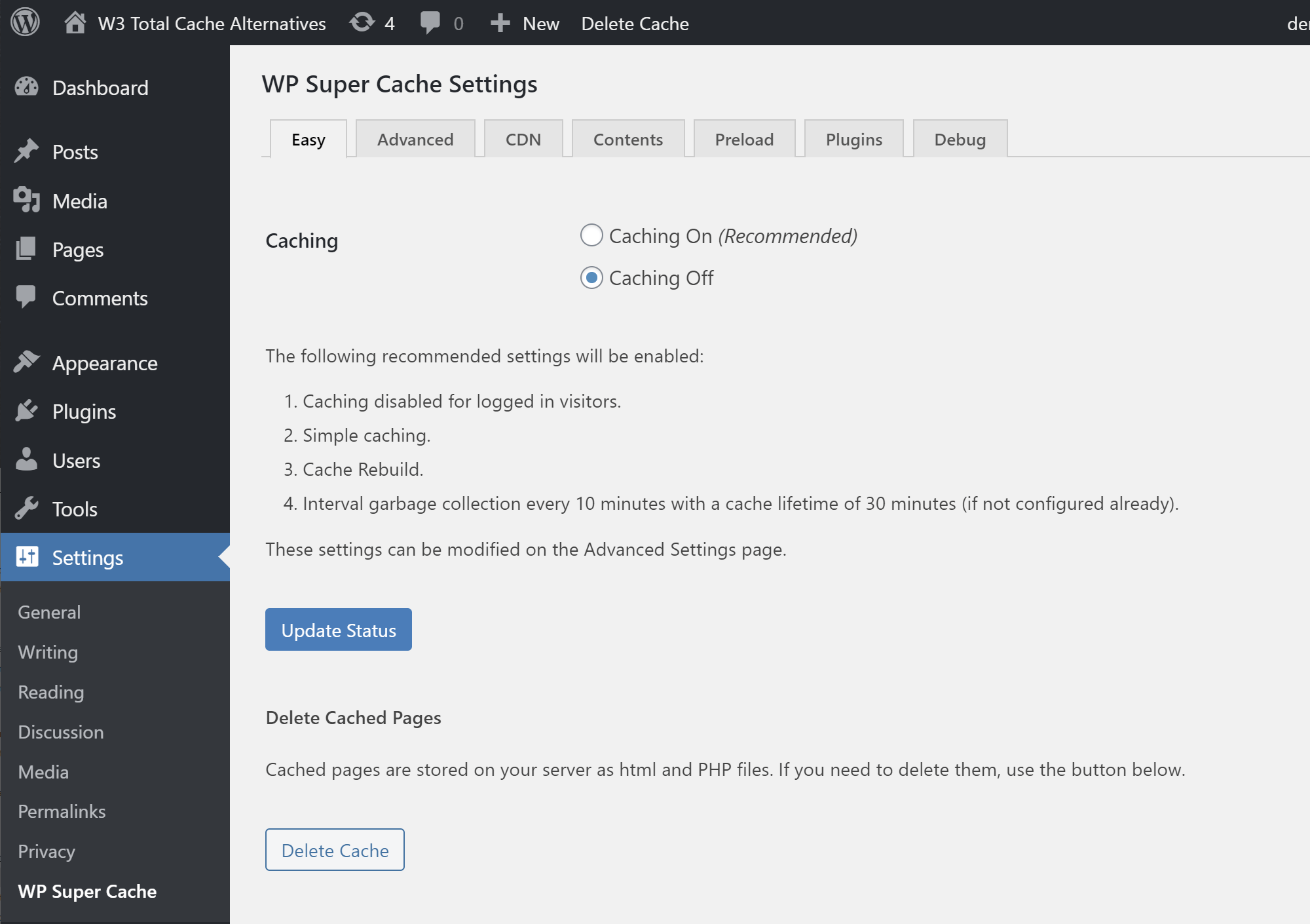 WP Super Cache basic settings